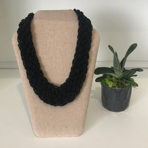 Black Bead Rope Necklace